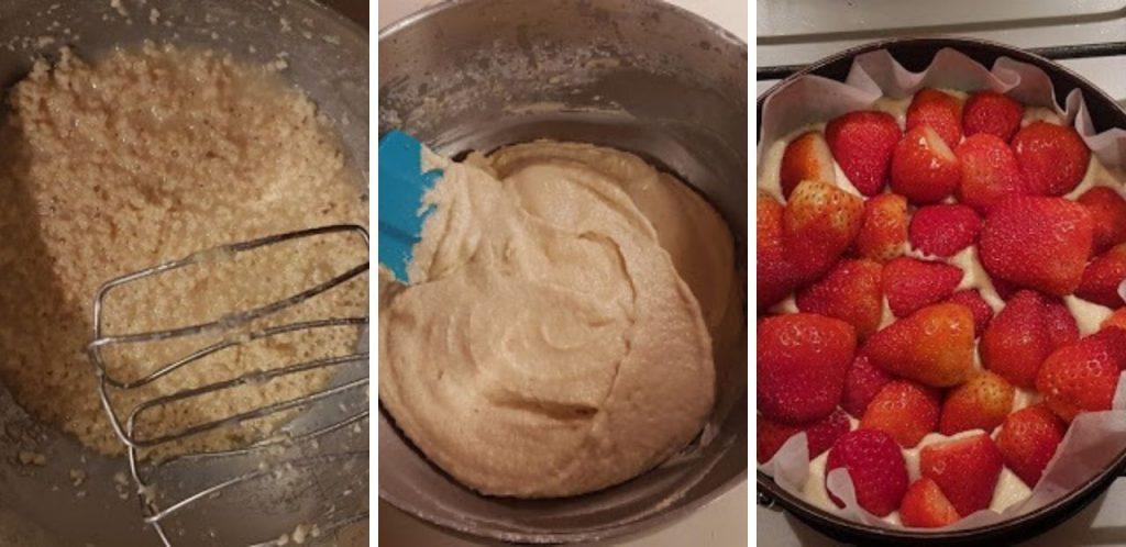 La preparazione della Torta soffice alle fragole